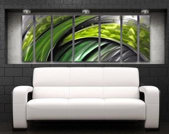 """Green Metal Wall Art Large Wall Sculpture Modern Art Work Painting Contemporary Home Decor Metal Art Panels""""Green Flash"""" by Brian M Jones"""