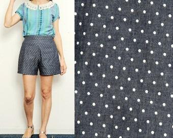Handmade polka dots High Waist Shorts [Cate shorts/polka dots denim]