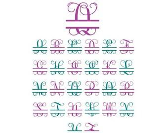 Split Monogram Svg, Split Letter Monogram, Split Font Svg, Split Alphabet Svg, Split Svg, Cricut Cut Files, Silhouette Cut Files