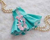 BLYTHE Dress  *Key to my Heart* in Robin's Egg Blue and Pink Silk  by Sweet Petite Shoppe