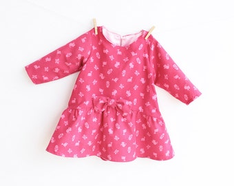 TINY MICE Girl Baby Girl Dress sewing pattern Pdf, Long Sleeve Short Sleeve newborn 3m 6m 9m 18m 1 2 3 4 5 6 years Instant Download