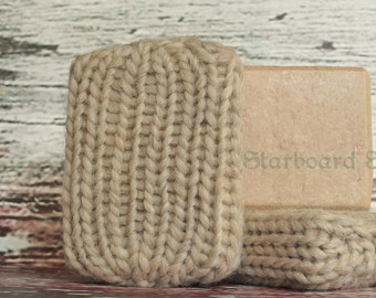 Coconut Cream Soap Sock - Hand Knit with 100% Wool - Handmade Soap with Cocoa Butter and Coconut Milk - Soap Saver - Felting Soap