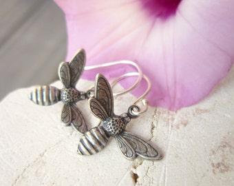 Silver Honey Bee Earrings. Honey Bee Dangle Earrings. Gift for a Beekeeper. Honey Bee Jewelry.Gift for a Bee Lover. Beekeeper Jewelry