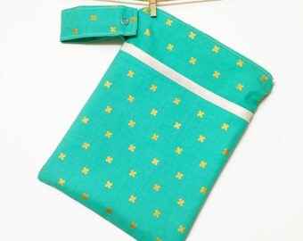 Small diaper clutch, wet bag, turquoise, cloth diaper, potty training, toiletry bag, cloth pads: MADE TO ORDER