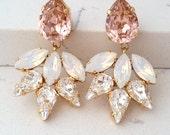 Blush earrings,Morganite earrings,Chandelier earrings,Morganite white Bridal earrings,Statement earrings,Swarovski earrings,Bridesmaids gift