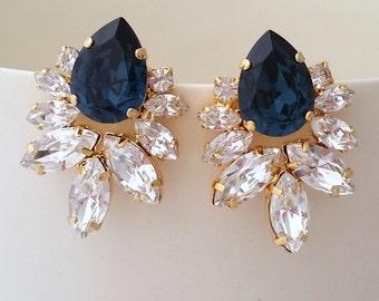 Bridal earrings,Navy blue earrings,Navy blue crystal Statement stud earrings Extra large cluster earrings,Swarovski earrings, Silver or gold