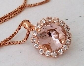 Rose gold Blush necklace,Morganite crystal necklace,Blush bridal necklace,Blush bridesmaid necklace,Swarovski necklace,pendant necklace