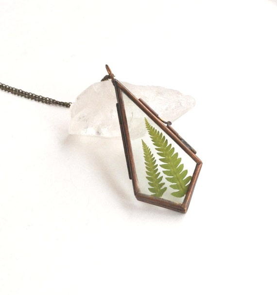Fern Necklace, Real Leaf Necklace, Locket Necklace, Opening Locket, Garden Jewelry, Plant Necklace, Fern Jewelry, Nature Lover Gift