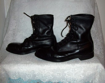 Vintage Men's Black Leather Military Issue Jungle Boots Size 8 1/2 W Only 22 USD
