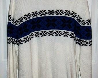 Vintage Men's White & Black Snowflake Ski Sweater by John Bartlett Medium Only 5 USD