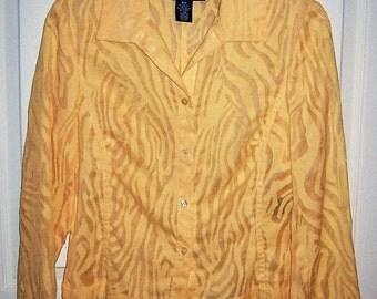 SAlE 70% Off Vintage Ladies Yellow Burnout Blouse by Evan Picone Size 6 P Now 1.80 USD