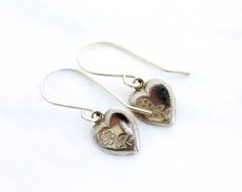 Vintage Heart Earrings Silver Engraved Petite Dangles