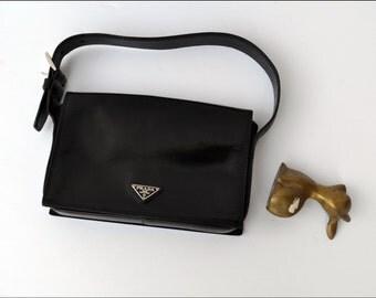 Vintage authentic Prada MILANO Shoulder Hobo Bag Black Classic Prada 90s grunge punk PRADA borse in pelle