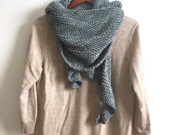 Hand Knit Wrap, Gunslinger Blue