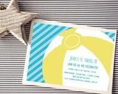 Instant Download - Beach Ball Invitation - Custom Printable Digital Invitation - Aqua and Blue stripes with Yellow Ball
