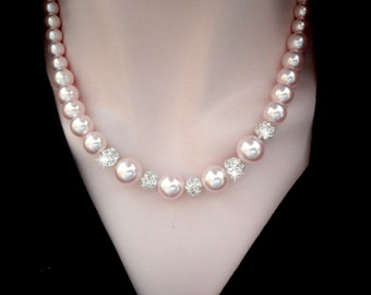 Pink pearl necklace ~ Chunky ~ Swarovski pearls and crystals ~ Graduating pearls ~ Brides necklace ~ Classic ~ Bridal jewelry ~ LOLITA
