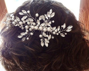 "Bridal hair comb ~ 6""~ Pearl and crystal hair comb~Hair accessories ~Wedding hair piece ~ Crystal hair comb~Brides hair comb~LILLY"