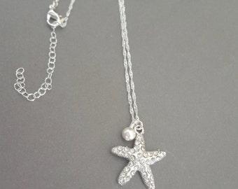 Bridal jewelry ~ Starfish necklace ~ Swarovski ~ Destination wedding jewelry ~ Beach wedding jewelry ~ Beach lover jewelry ~ Gift ~ STARFISH