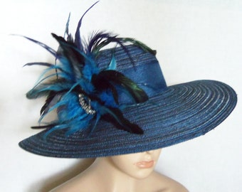 Womens Blue Hat - Wide Brim Dark Blue Hat - Kentucky Derby Hat, Garden Party Hat or Victorian Tea Party