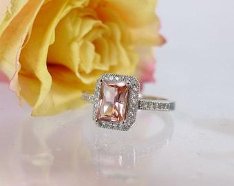 Tourmaline Ring, Tourmaline Halo Ring, Peach Tourmaline Ring, Sterling Silver, Halo Ring Design