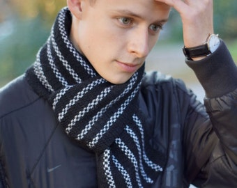 Hand knit Men's black Scarf  white for him
