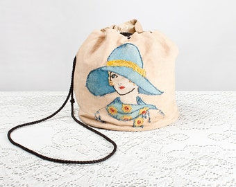 Vintage Rare 1920s Hand Painted Embroidered Flapper Drawstring Purse