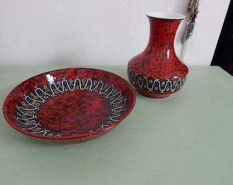 "Italien Art Pottery - San Marino Scraffito Vase and Bowl ""Cemas"" - Handmade - Rare"
