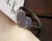 Fingerprint Ring / Fingerprint Heart or Circle Shape / Pure Silver Fingerprint Ring / Fingerprint Ring in Pure Silver / Fingerprint heart