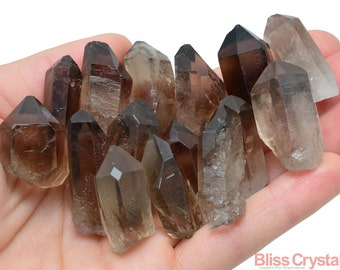"2 SMOKY QUARTZ Rough Points 1"" Size Healing Crystal and Stone Smokey Raw Gem Gemstone Wand #SR2"
