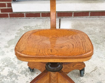 Vintage Oak and Metal Swivel Rotating School / Office / Studio / Wood Shop Chair