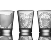 Sand Blasted Shot Glasses (in seven different APE MADE Cleveland, Ohio, and Akron Designs)