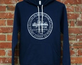 Unisex 'Cleveland City Seal' on Navy Blue Fleece Pullover Hoodie