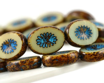 10 Czech Kiwi Beads - Picasso Beige with Turquoise Wash - Carved Oval 14x10mm
