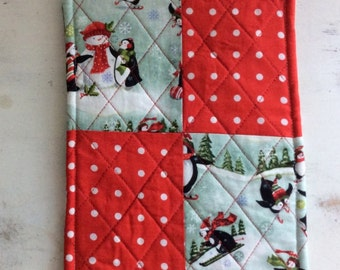 Trivet Quilted Rectangle Winter Motif Penguins Snowmen Red Polka Dots Hostess Gift Teacher Gift  Gift Basket Gift Exchange Housewarming