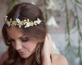 Gold Bridal Halo, white lace Wedding Hair Vine, Boho, Rhinestone vine gold wire and leaves Laurel - READY TO SHIP