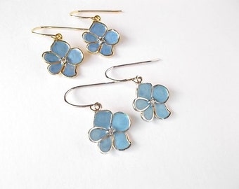 Blue Orchid Earrings, Botanical Jewelry, Jr Bridesmaid Gift, Small Dangle Earrings, Gift for Her, Tween Jewelry