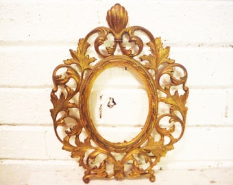 Ornate gilded iron picture frame oval victorian antique vintage 1900's tabletop kickstand fancy open work