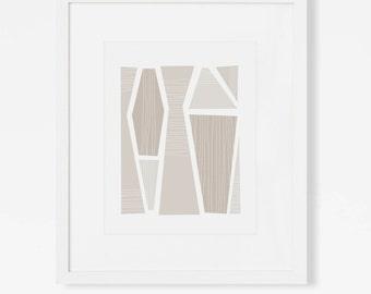 "Mid Century Modern Art Print - Abstract Geometric Wall Art - Neutral Wall Decor - 5x7"", 8x10"", 11x14"" Neutral Graphic Art for Nursery Office"