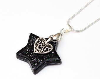 Space Star Necklace with heart charm