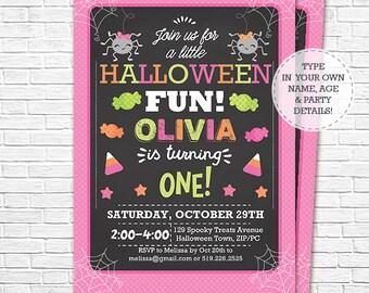 Halloween Birthday Invitation - Girl Halloween Birthday - Halloween 1st Birthday - Hallowen Party - Download & Personalize in Adobe Reader