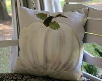 Handpainted Decorative White Pumpkin Pillow