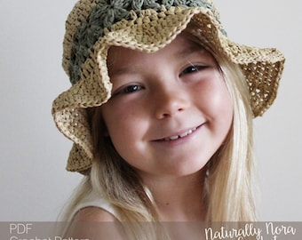 Crochet Pattern: The Lainey Sun Hat-4 Sizes Included Toddler, Child, Adult, Adult Large-summer, daisy, straw, raffia