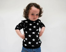 Babies sweater top black white star print soft cotton jersey spring baby jumper funky rock festival toddler black night sky cool kid babies