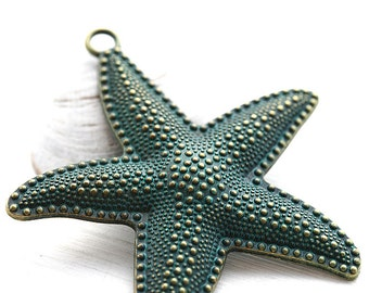 Extra Large Starfish Pendant, Patinated Brass Metal Casting Sea Star Bead, Green Patina - 1pc - F459