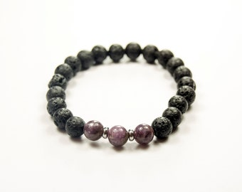Depression - Addiction - Anorexia - Lepidolite & Lava bracelet - Essential Oil diffuser bracelet