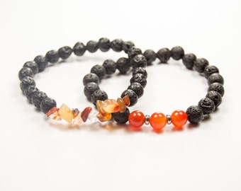 Second Chakra - 2nd Chakra - Sacral - Svadhisthana - Pleasure - Passion - Carnelian & Lava bracelet - Essential Oil diffuser