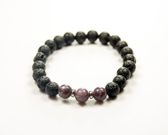 depression addiction anorexia lepidolite lava bracelet