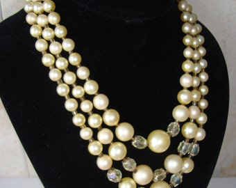 Vintage Pearl and Crystal Necklace Triple Strand Japan