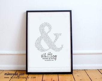 Custom Wedding Song Lyric Ampersand - Typography Print by MJDandSupply