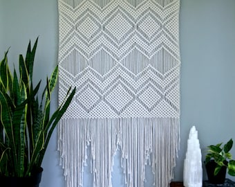 SALE Large Macrame Wall Hanging - Natural White Cotton Rope on Dowel - Geometric Boho Home, Nursery Decor, Wedding Backdrop - Ready To Ship